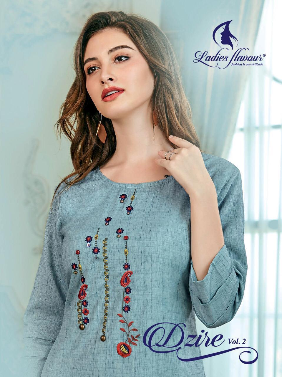 Ladies Flavour Dzire Vol - 2 Embroidery Work and Designer Straight Kurti Ctalog at Wholesale rate