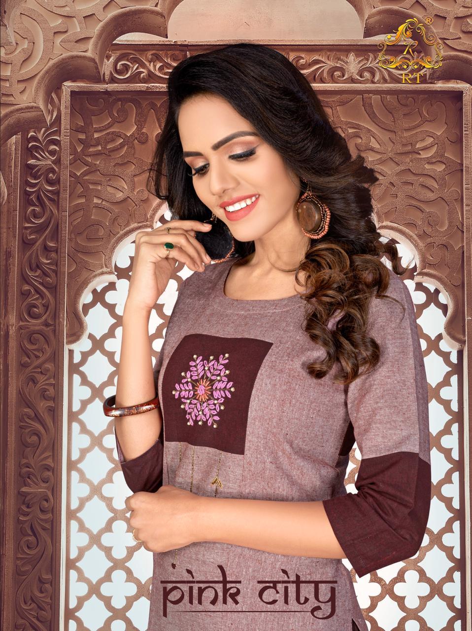 Rijiya Trends Pink City Cotton Fancy Casual Wear Kurti Catalog at Wholesale rate