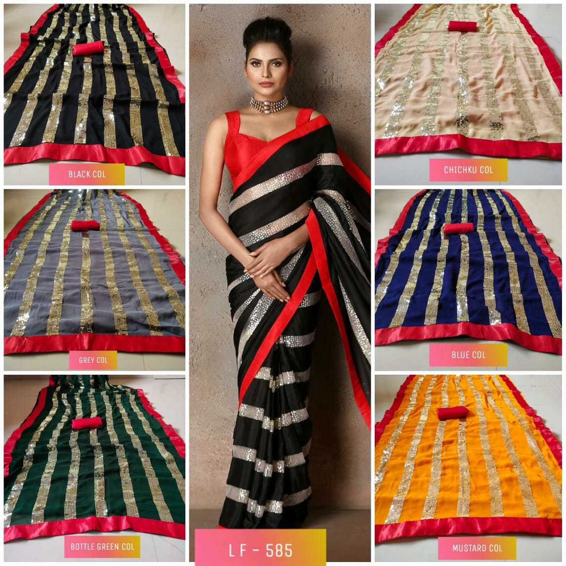 Thankar D.No.- 585 Latest Party Wear Georgette Saree with sequence Work Catalog at Wholesale Work
