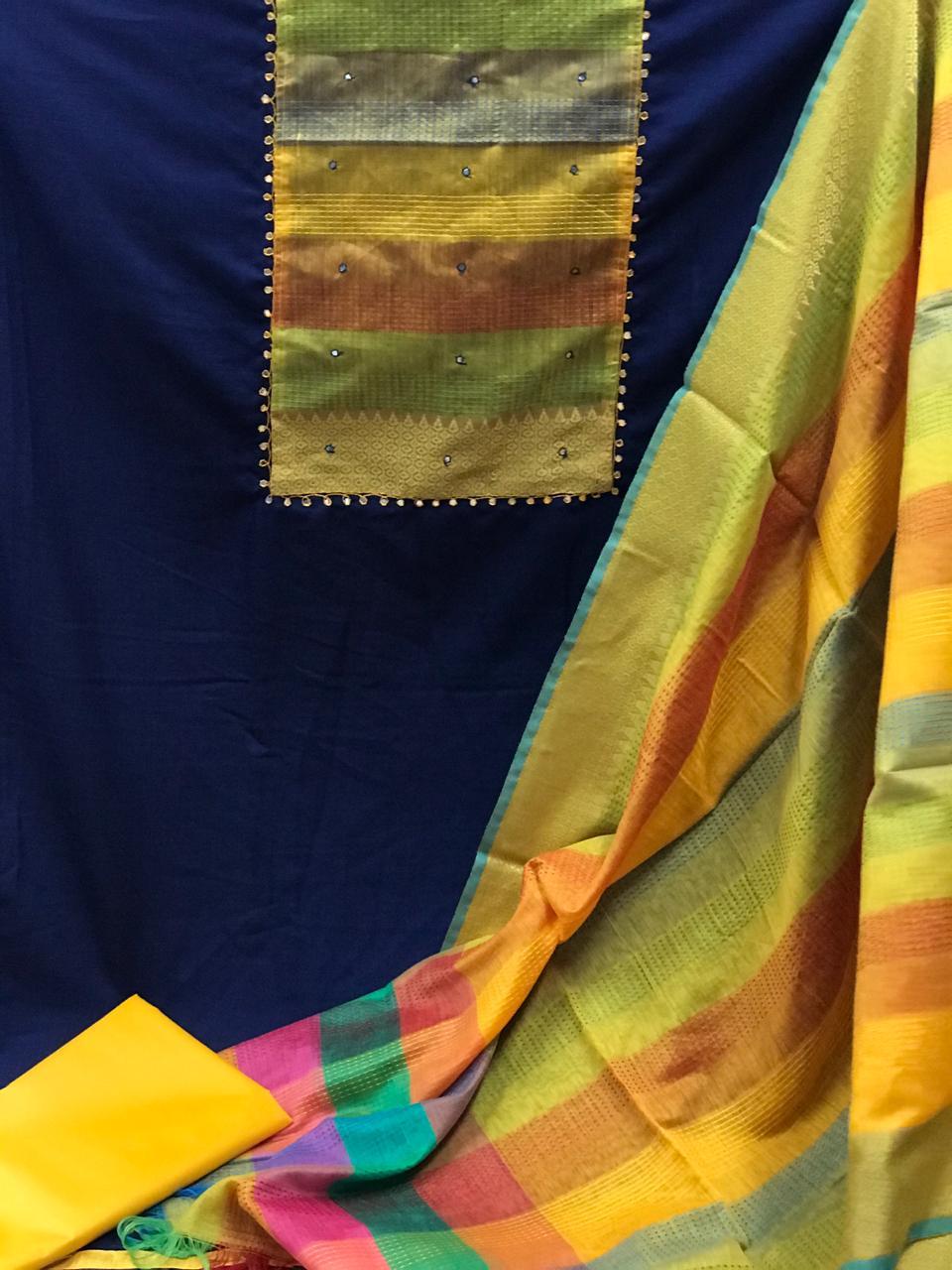 Thankar Festive Wear Slub Cotton Suit Drees Material Catalog at Wholesale rate