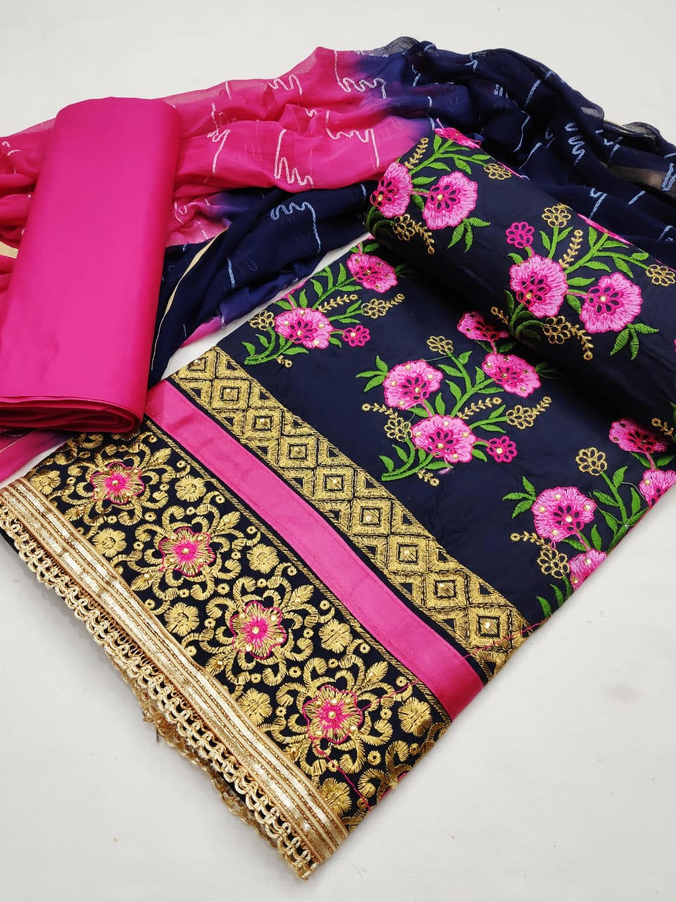 Thankar M D Festive  Wear Pure Cotton With Embroidery Work Dress Material Catalog at Wholesale rate