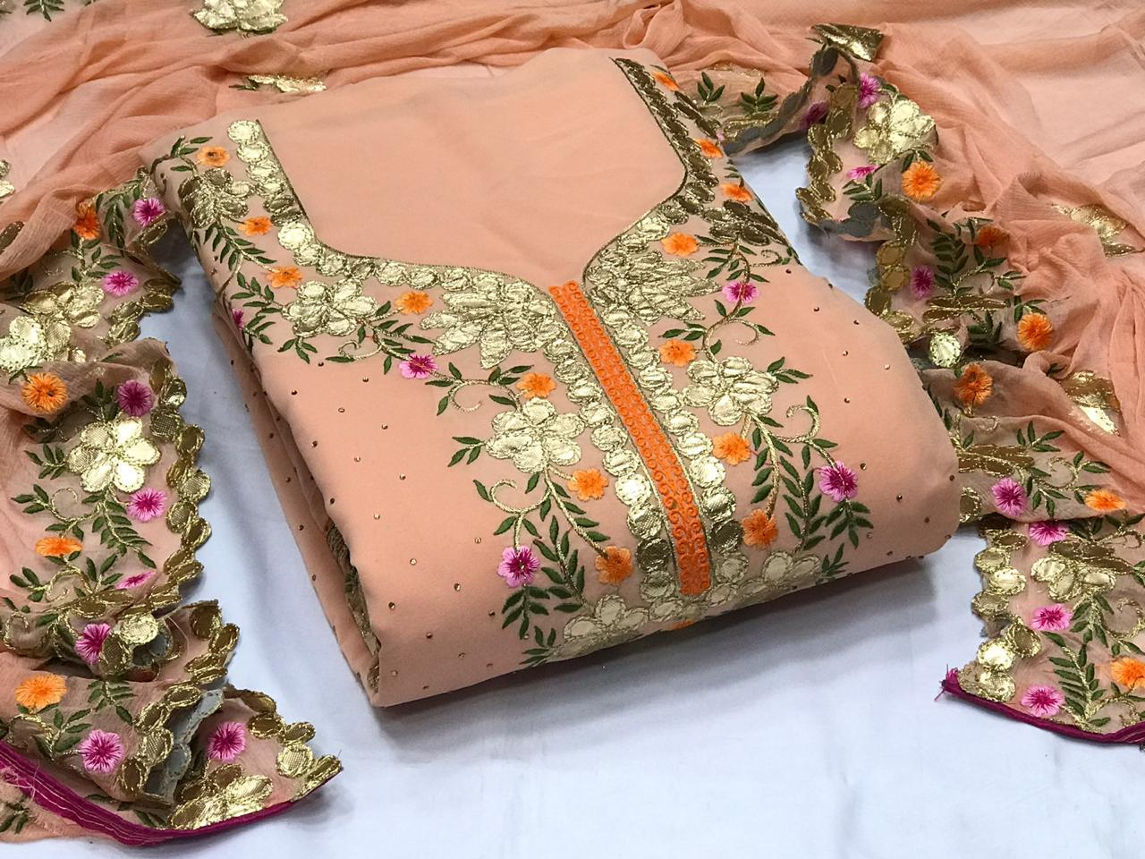 Thankar  Heavy Santoon Fabric with Embroidery Work Dress Material Catalog at Wholwsale rate