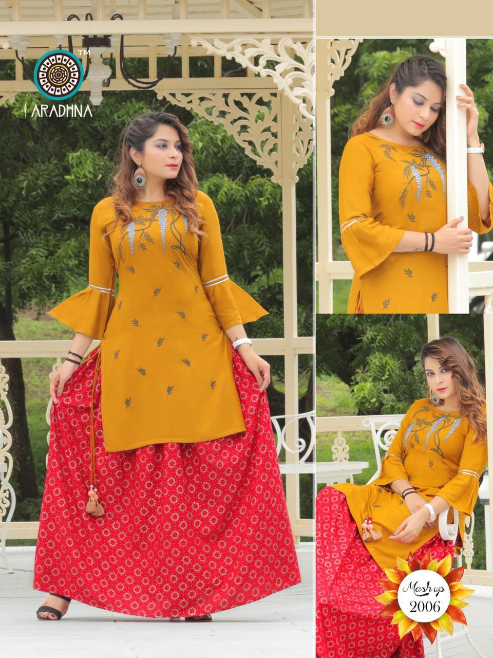 Aradhna Mashup Vol -2 Rayon Embroidery Festive Wear Kurti Catalog at Wholesale rate