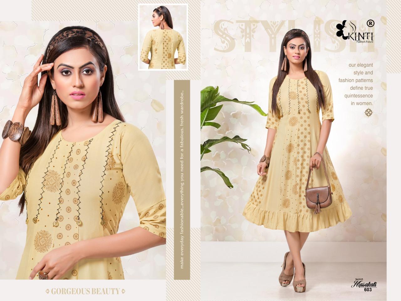 Kinti Masakali 0.6 Rayon Printed Gown Style Anarakli Kurti Catalog at Wholesale rate
