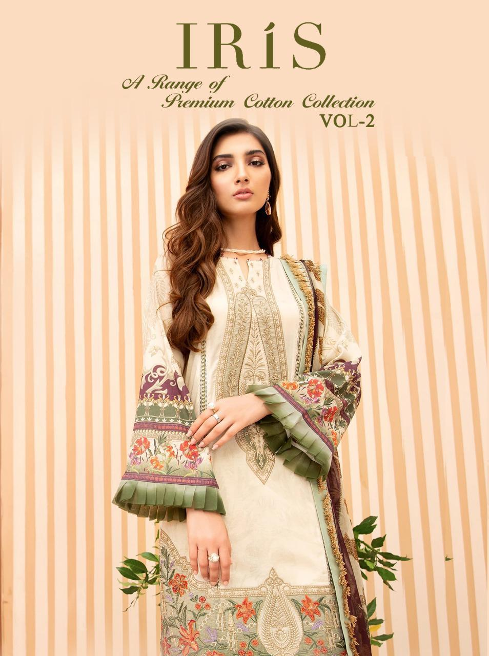 Shree Fab Iris Vol -2 Designer Festive Wear Cotton Embroidered Pakistani Salwar Suit Catalog at Wholesale rate