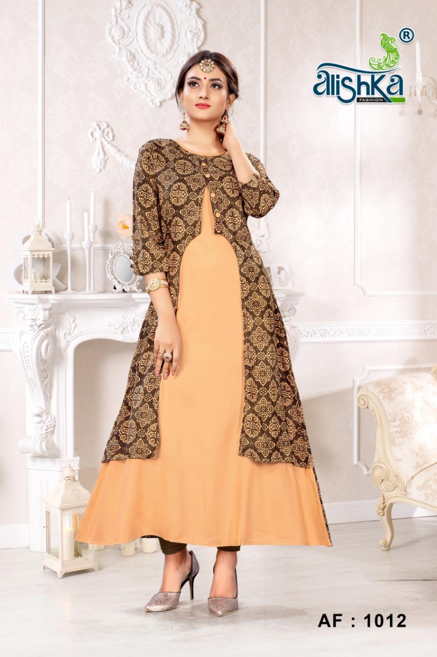 ALISHKA FASHION OREO Rayon Anarkali Gown Style Kurti  Catalog ata Wholesale rate