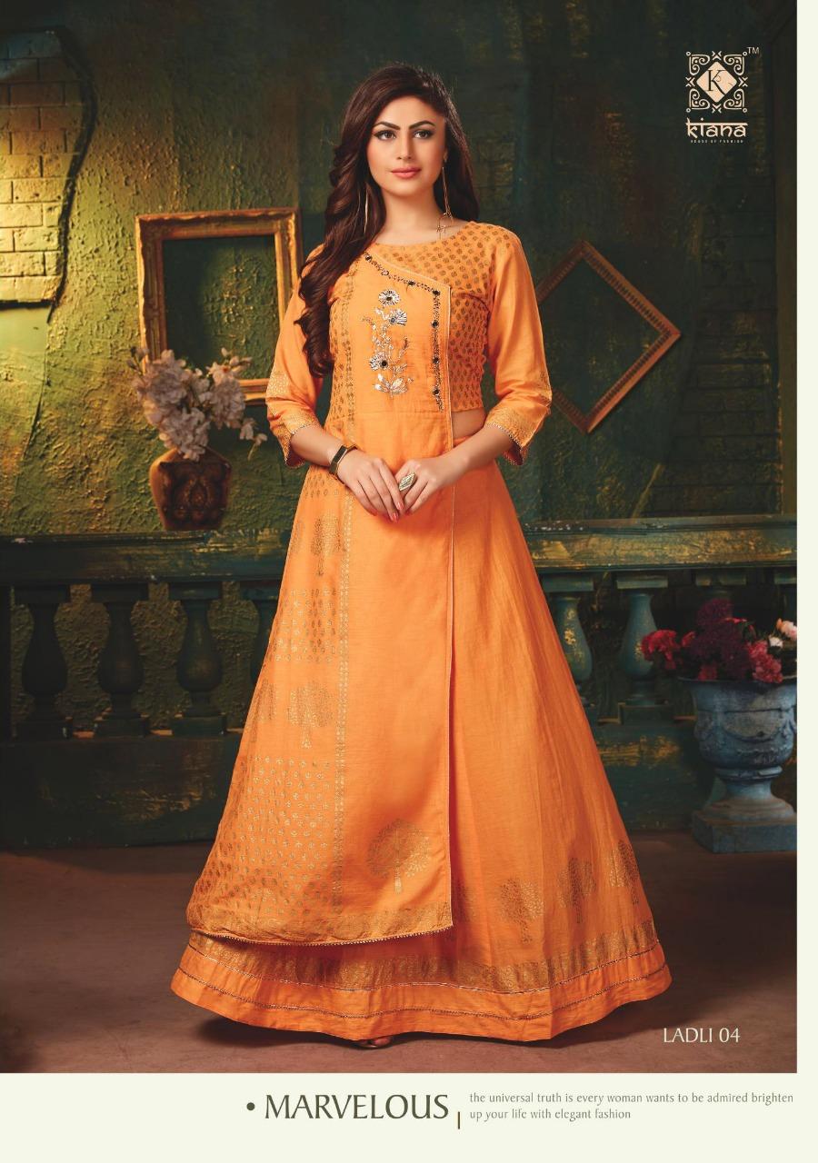 Kiana🏵LADLI Designer Cotton Mull Anarkali Gown Style Kurti Catalog at Wholesale rate