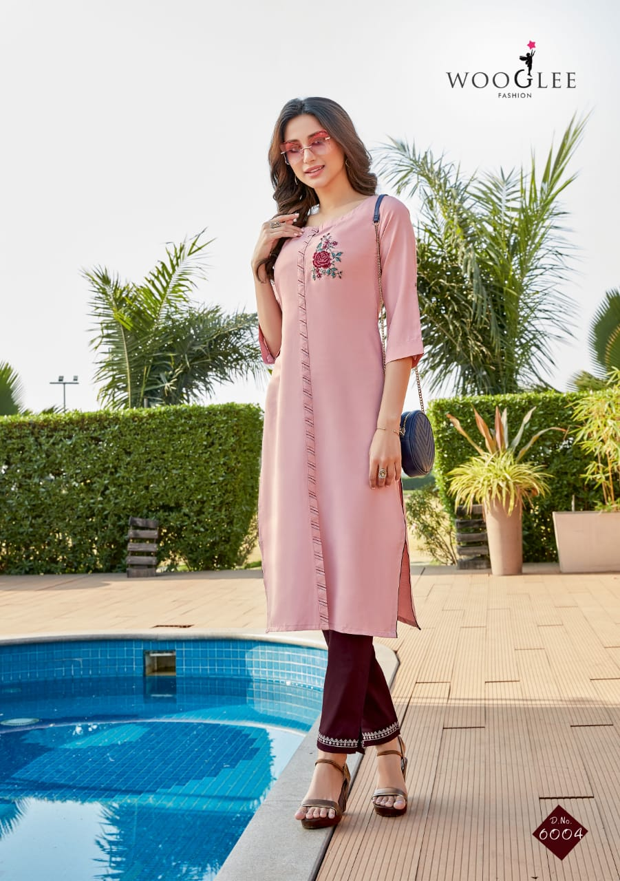 WOOGLEE  SPARSH  Fancy Heavy Rayon with Embroidery Work Kurti Catalog at Wholesale rate