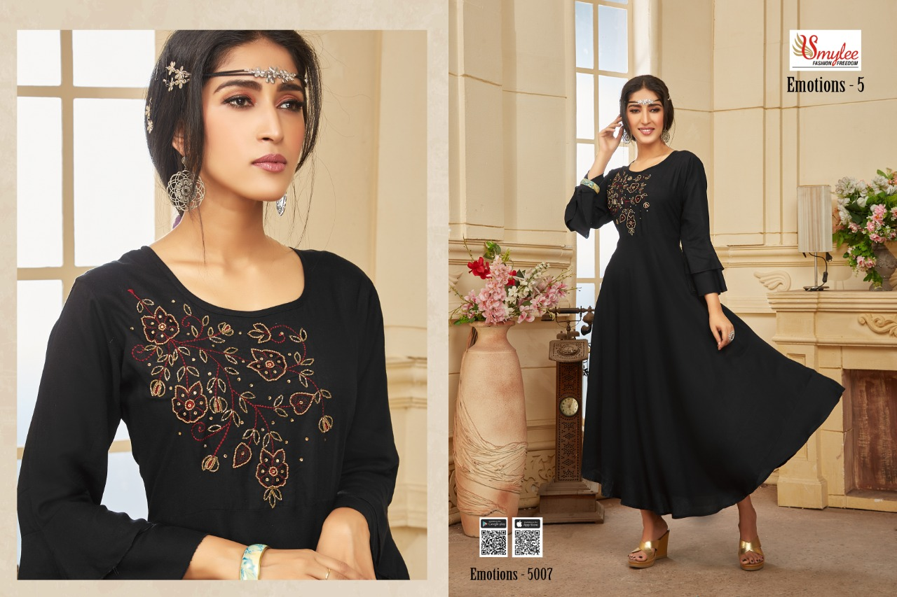 Smylee Emotions -5 Designer Heavy Reayon With Embroidery Work Kurti Catalog at Wholesale rate