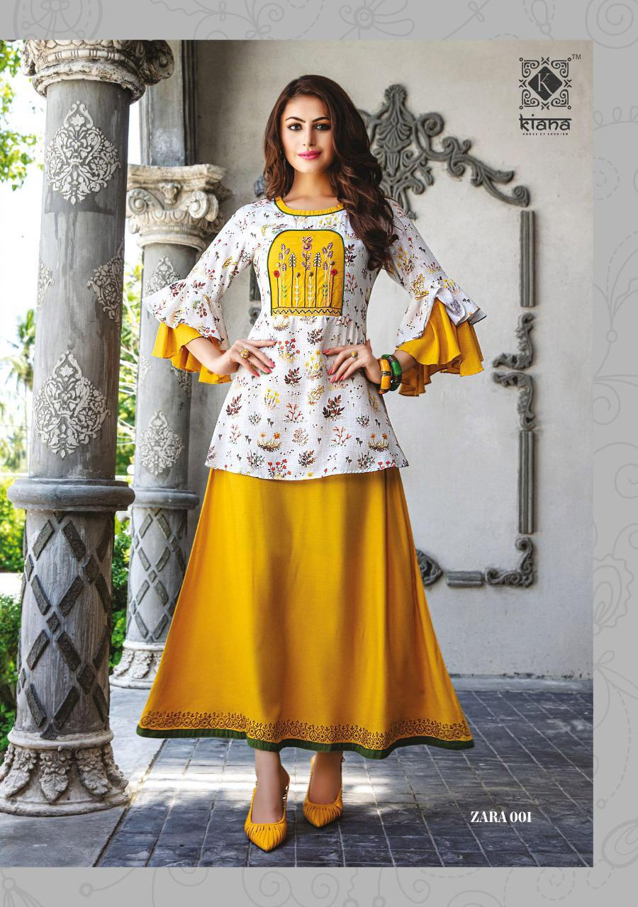Kiana ZARA Designer Cotton And Rayon with Embroidery work Kurti Wear Catalog at Wholesale rate