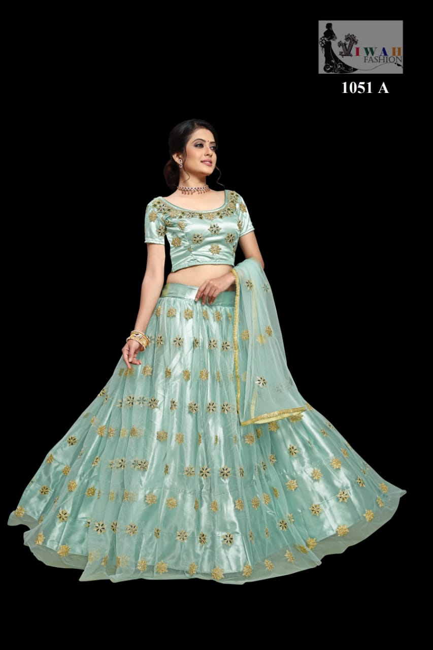 D.N.1051 A Designer Wedding Lehenga With Net  Embroidery Work Catalog at Wholesale rate