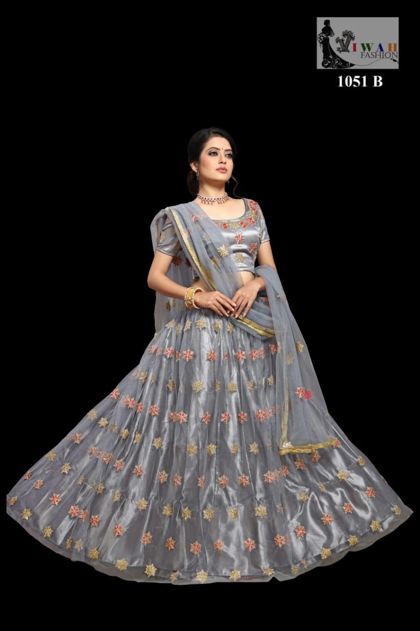 D.N.1051 B Designer Wedding Lehenga Net Embroidery Work Catalog at Wholesale rate