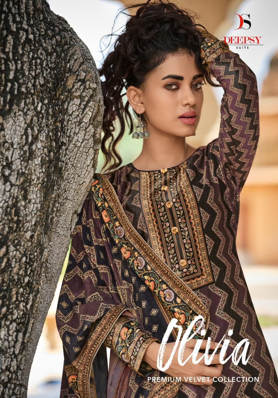 DEEPSY Olivia Designer Velvet Digital Printed Winter Suit Catalog at Wholesale rate
