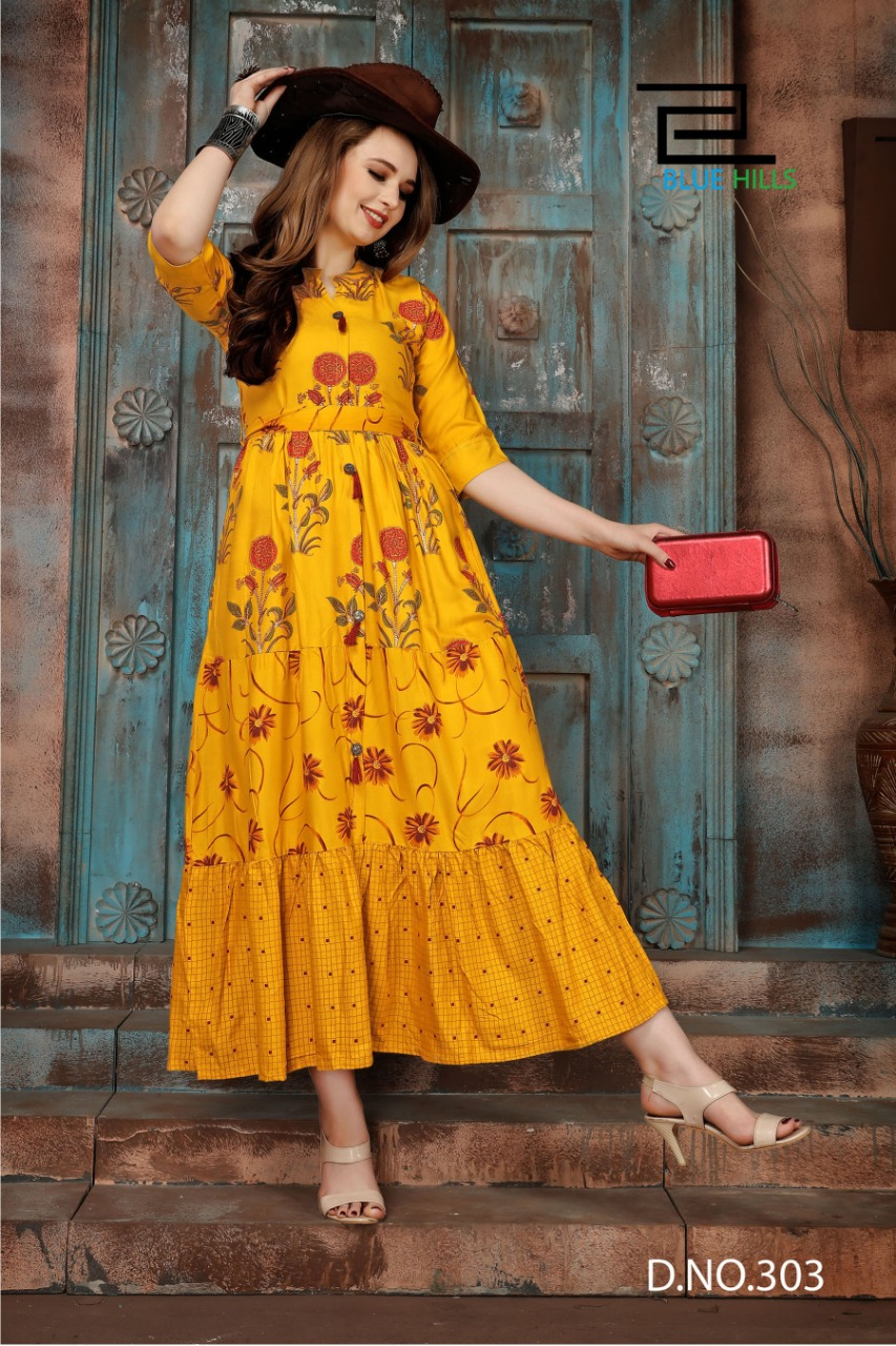 Blue Hills Bournville Vol - 2 Stylish Heavy Rayon with Foil Printed Kurti Catalog at Wholesale rate