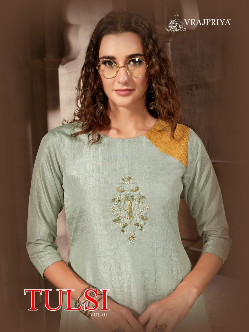 Vrajpriya Tulsi Vol -1 Fancy Dola Silk with Hand Work Kurti Wear Catalog at Wholesale rate