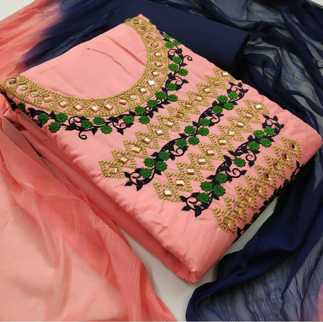 Thankar Designer  Cotton With Embroidery Work Stylish Dress Material Catalog at Wholesale rate
