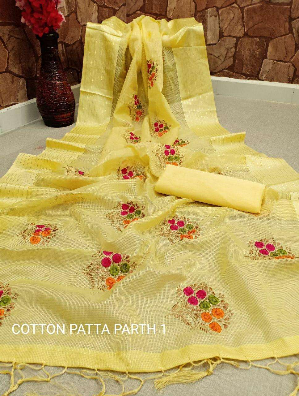 Thankar Cotton Patta Parth -1 Cotton With Embroidery Work Saree Catalog at Wholesale rate
