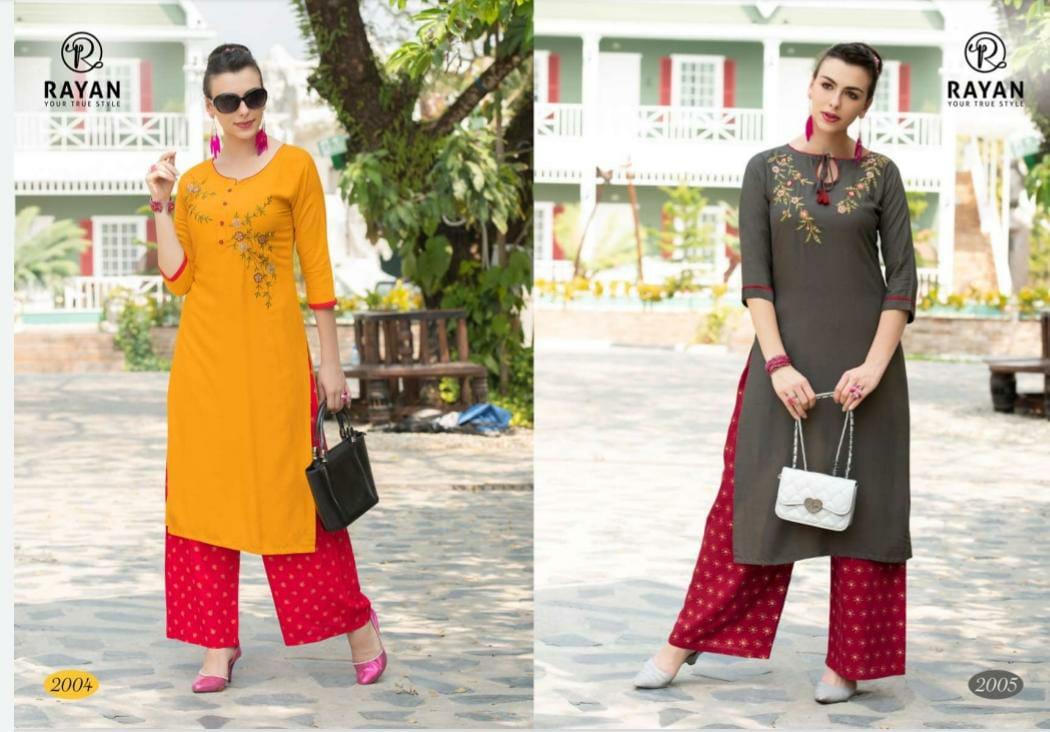 R Studio Rayan Rayon Foil Print Festive Wear Kurti Catalog at Wholesale rate