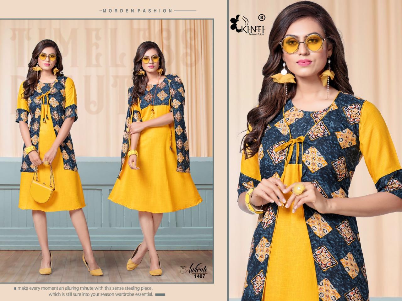 Kinti Aakruti-14 Rayon 14KG Print Anarkali Kurti Catalog at Wholesale rate