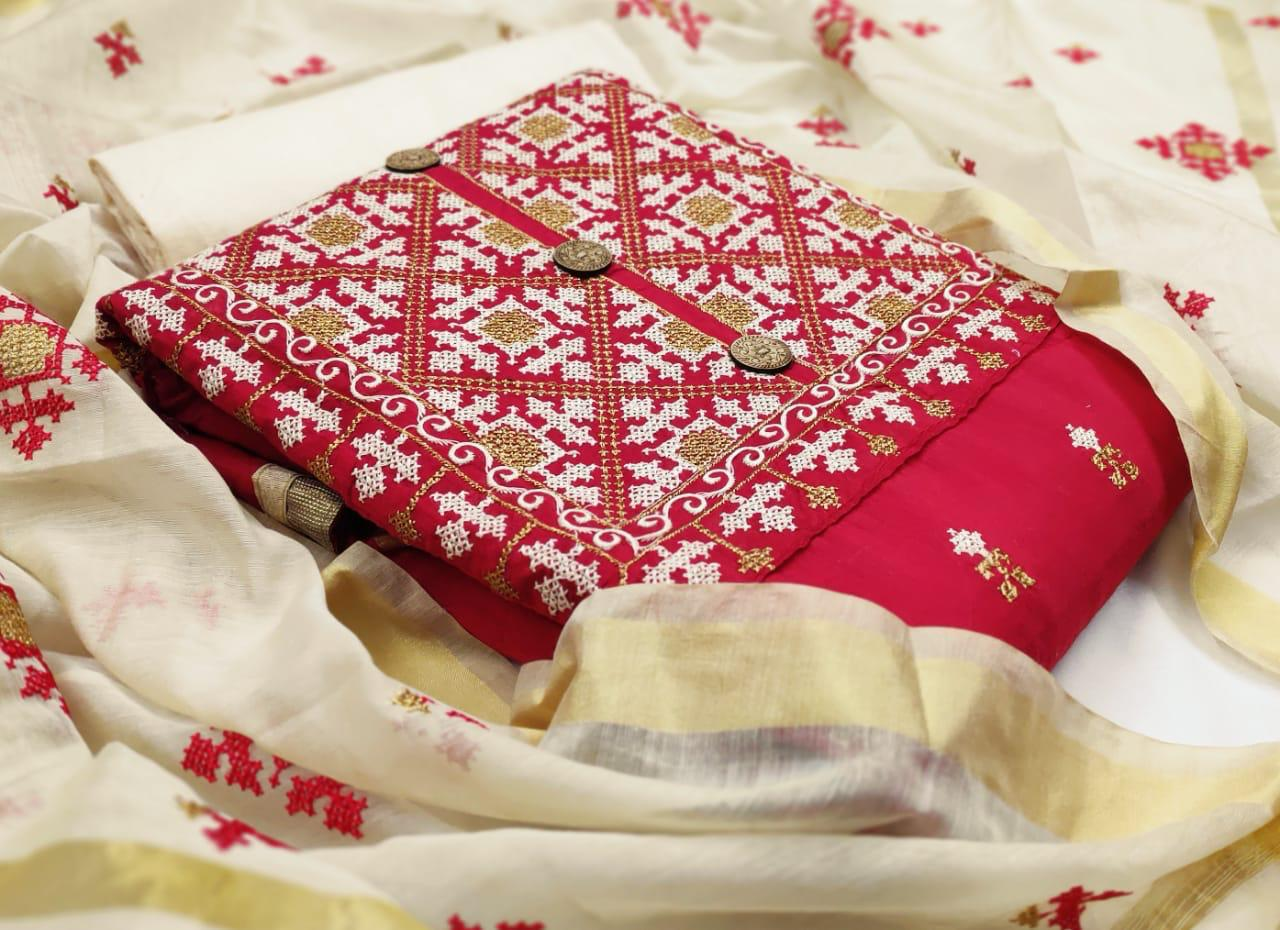 Thankar Designer Chanderi Modal with Embroidery Work Dress Material Catalog at Wholesale rate
