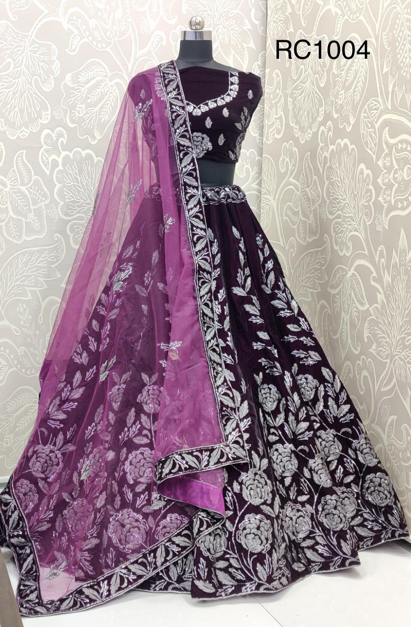 Thankar Designer Embroidery Purple Velvet Lehenga Catalog at Wholesale rate