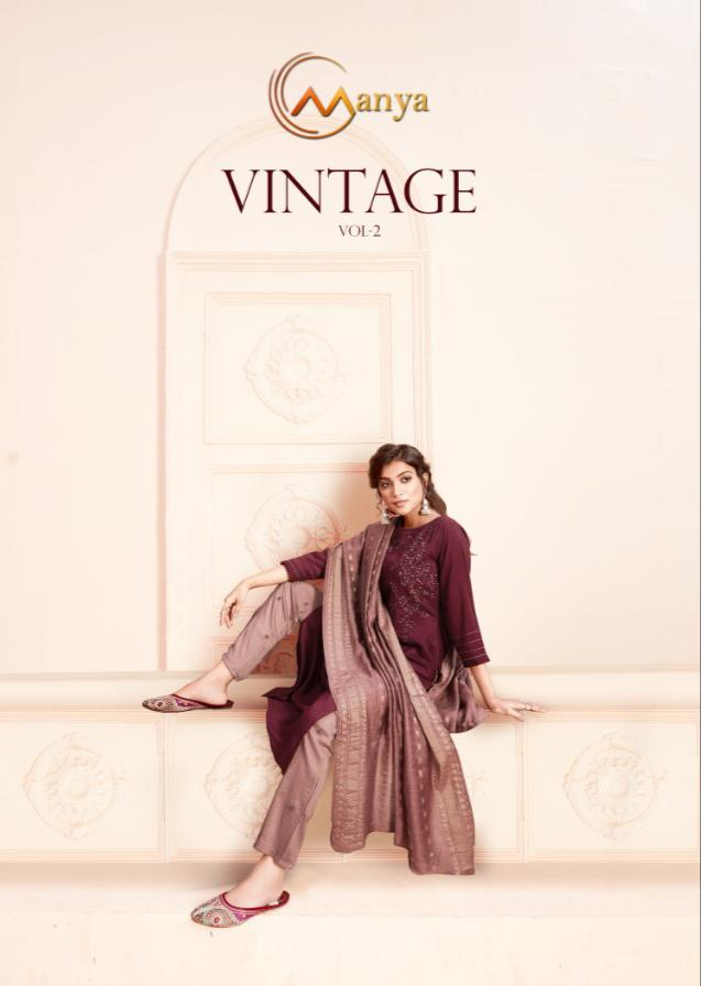 Manya Vintage Vol -1 Stylish Silk With Embroidery Kurti Catalog at Wholesale rate
