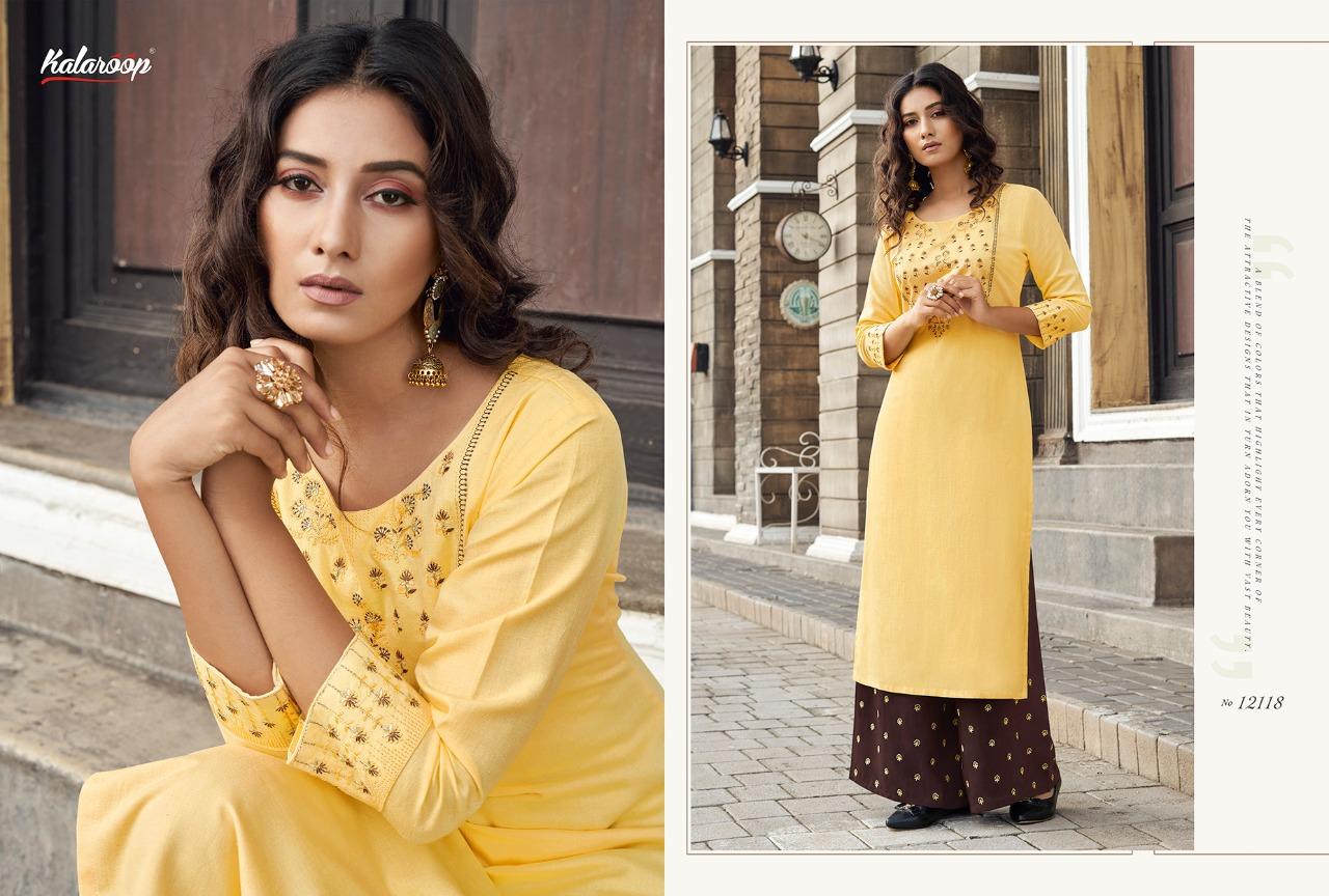 Kalaroop Yarra Heavy Rayon With Work Festive Wear Kurti Catalog at Wholesale rate