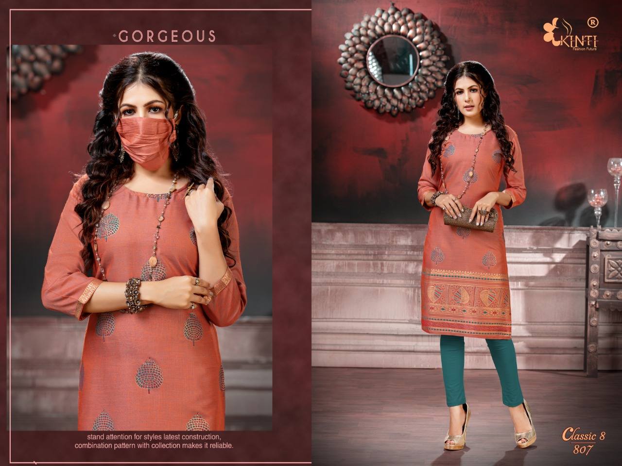 Kinti Classic 8  Fancy Rayon With Printed Kurti Catalog at Wholesale rate