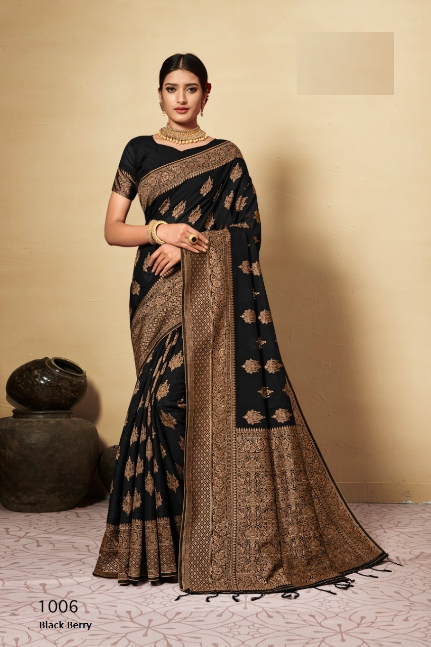 Black berry  Designer Chanderi cotton Festive Wear Saree Catalog at Wholesale rate