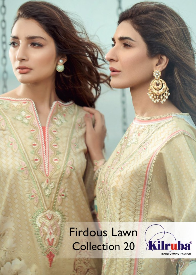 Kilruba Firdaus lawn collection 20 Semi Lawn Digital Print Pakistani Suit Catalog at Wholesale rate