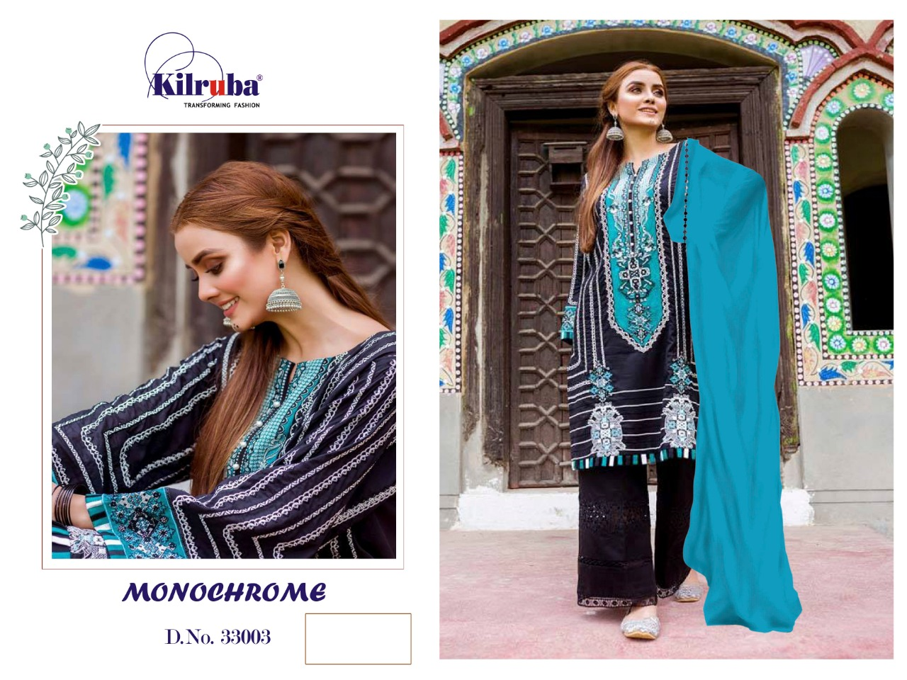 Kilruba Monochrome Stylish Pure Cotton With Embroidery Work Pakistani Suit Catalog at Wholesale rate