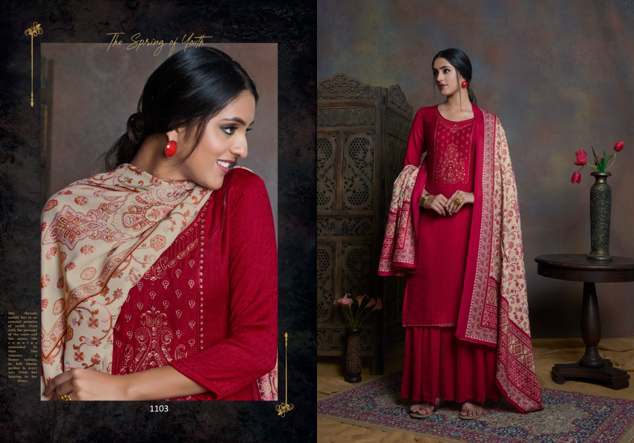 Bispon Kashmiri Beauty Pure Pashmina With Embroidery Work Salwar Suit Catalog at Wholesale rate