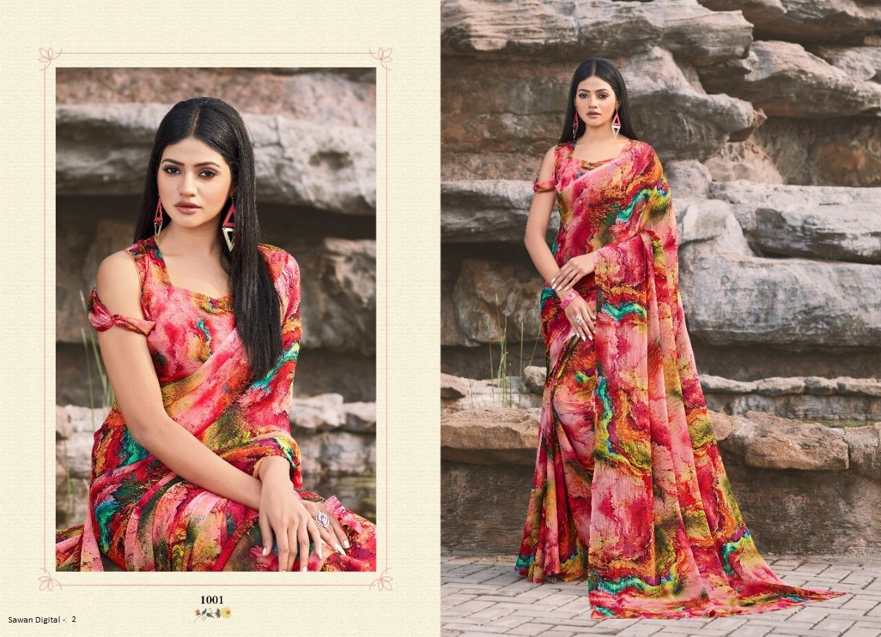 Thankar Sawan Digital 2 Soft Chiffon With Digital Print Casual Wear Saree Catalog at Wholesale rate