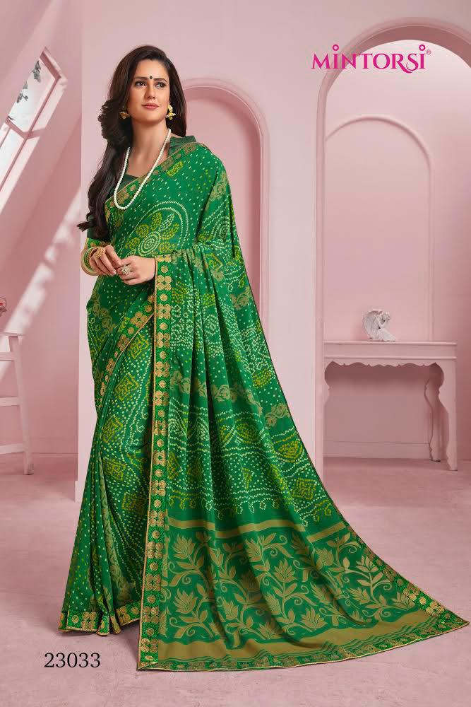 Thankar Mirangi Colour Designer Soft Georgette with Banarasi silk Wedding Saree Catalog at Wholesale rate