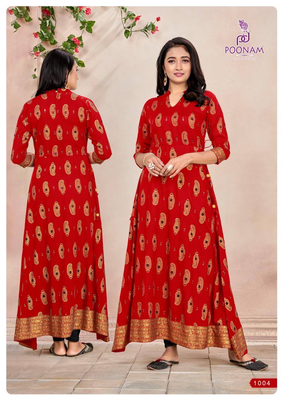Poonam Designer Nirja Designer Rayon Foil Print With Hand Work Kurti Catalog at Wholesale rate