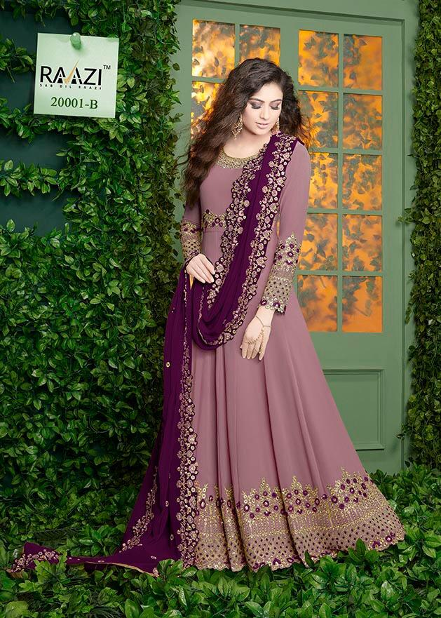 Raazi  R-20001 Designer Faux Georgette with embroidery Work Salwar Suit Catalog at Wholesale rate