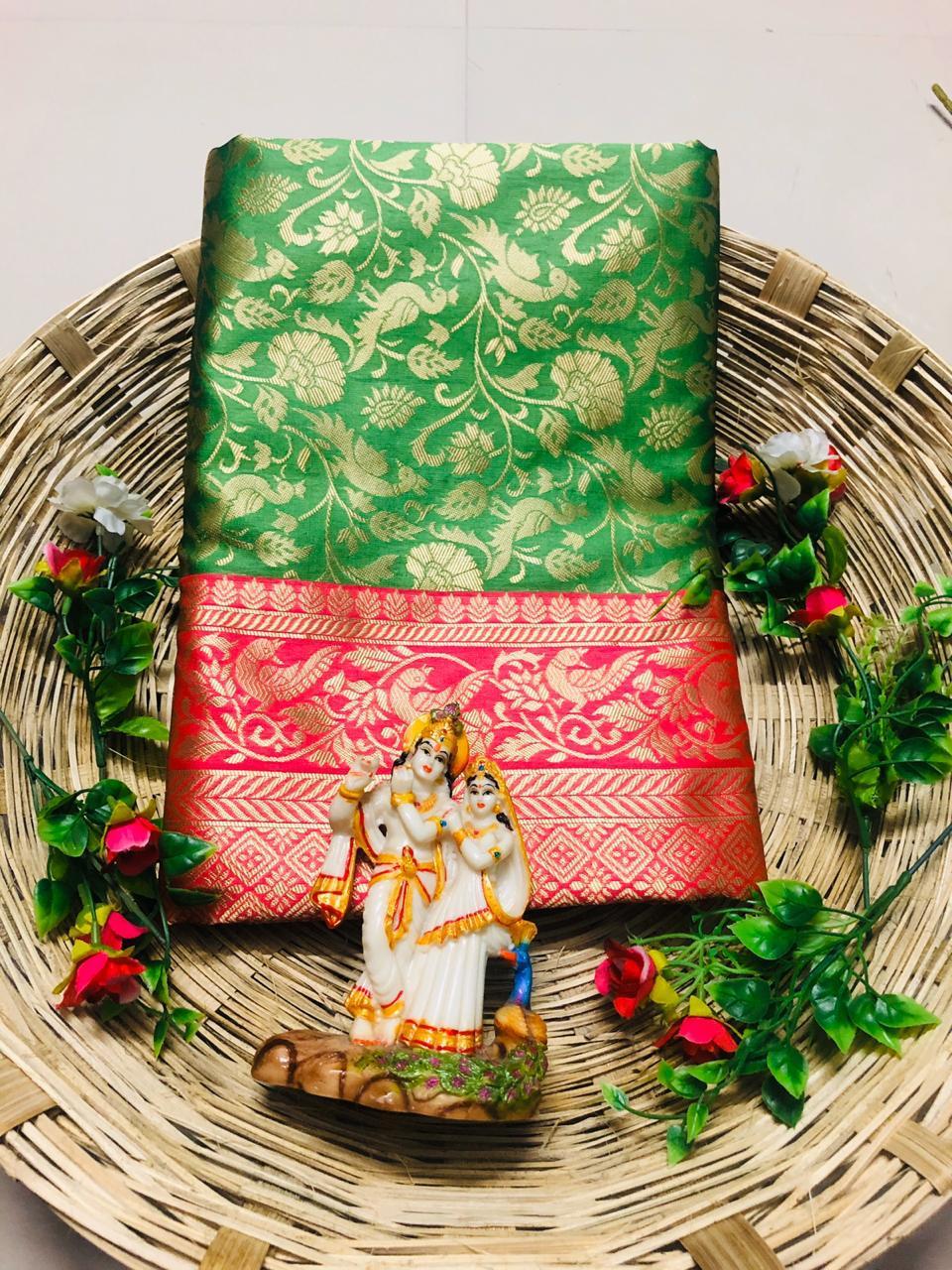 Parevdi R Firozi Gajari Green Stylish Lichi Soft Silk Festive Wear Saree Catalog at Wholesale rate