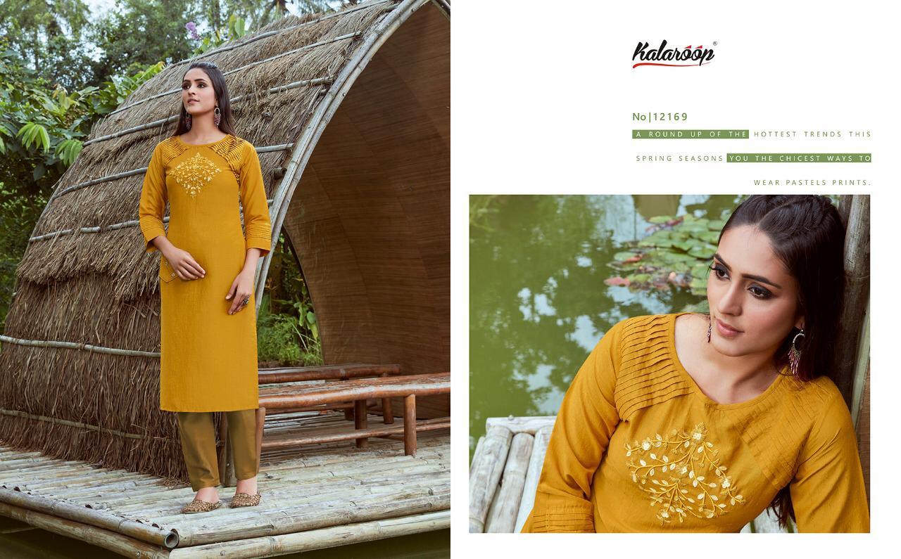 Kalaroop Ovtavia vol. 3 Stylish Lining Silk With Fancy Hand Work Kurti Catalog at Wholesale rate