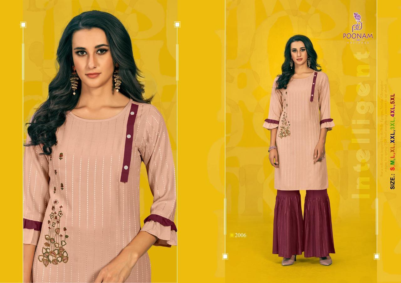 Poonam Designer Sarara House vol-2 Stylish Rayon Embroidered Kurti Catalog at Wholesale rate