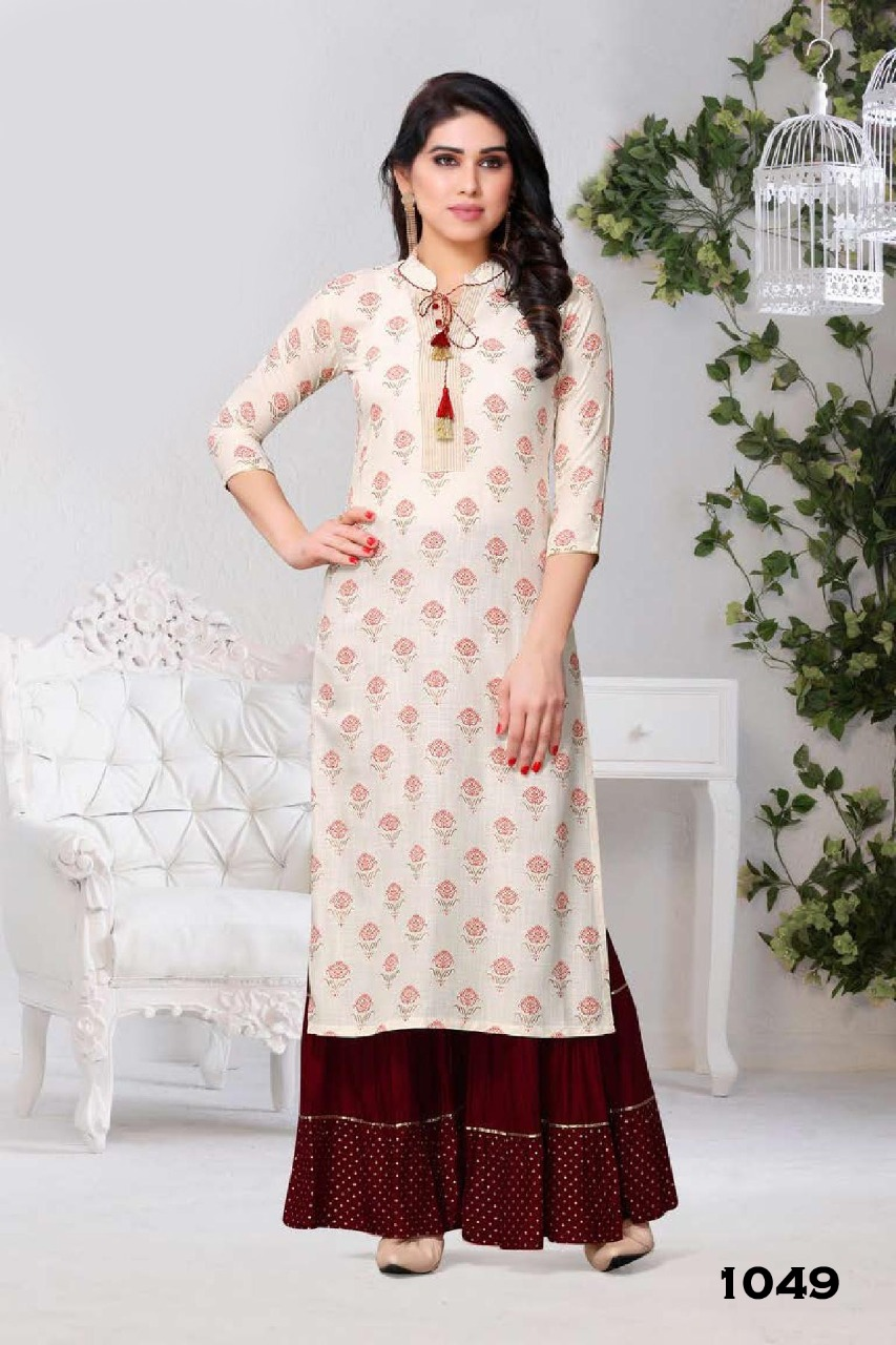 Sarara Designer Rayon & Cotton Casual Wear Kurti Catalog at Wholesale rate