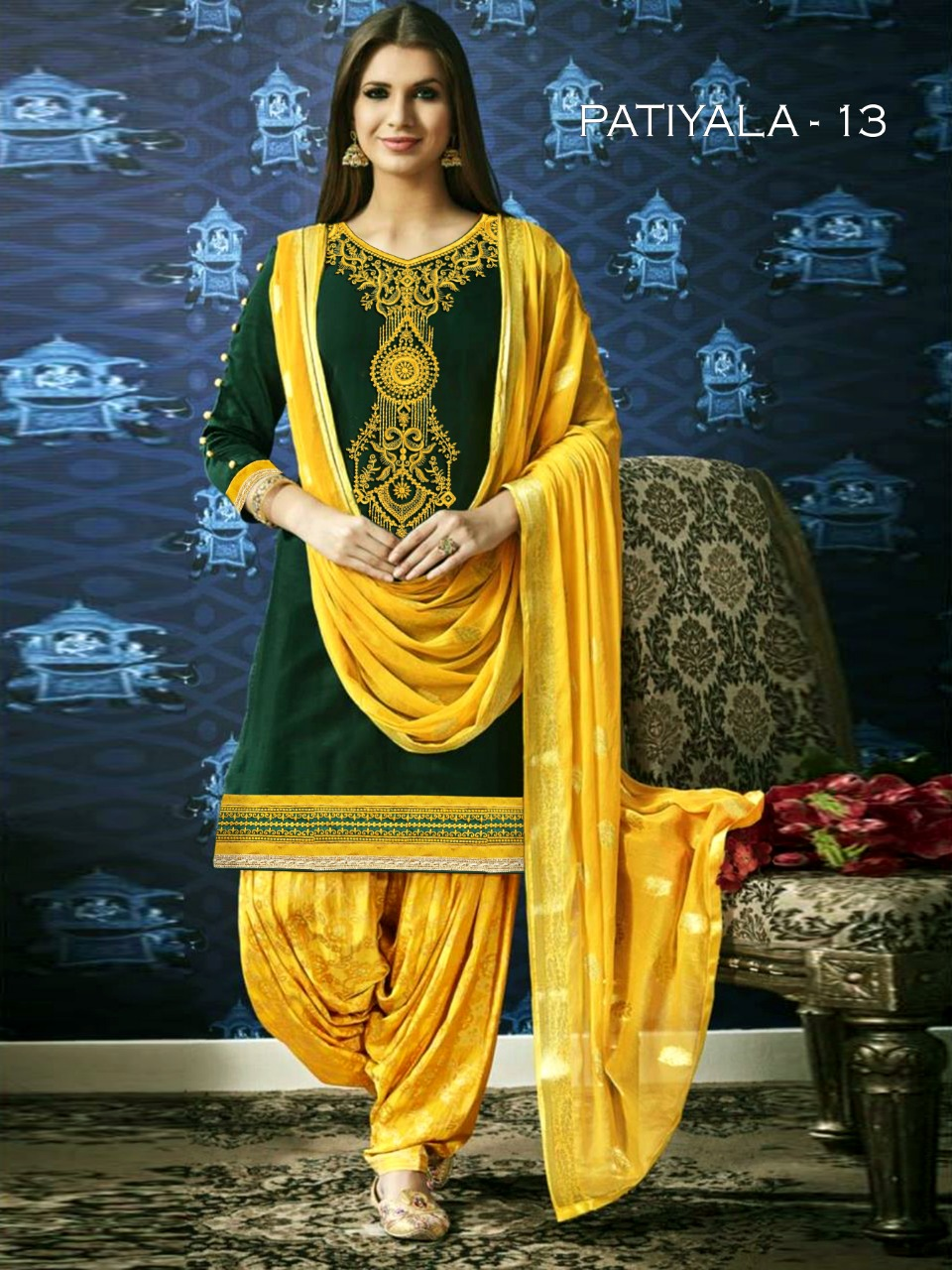 Kessi Patiala Stylish Satin Cotton With Embroidery Work Salwar Suit Catalog at Wholesale rate