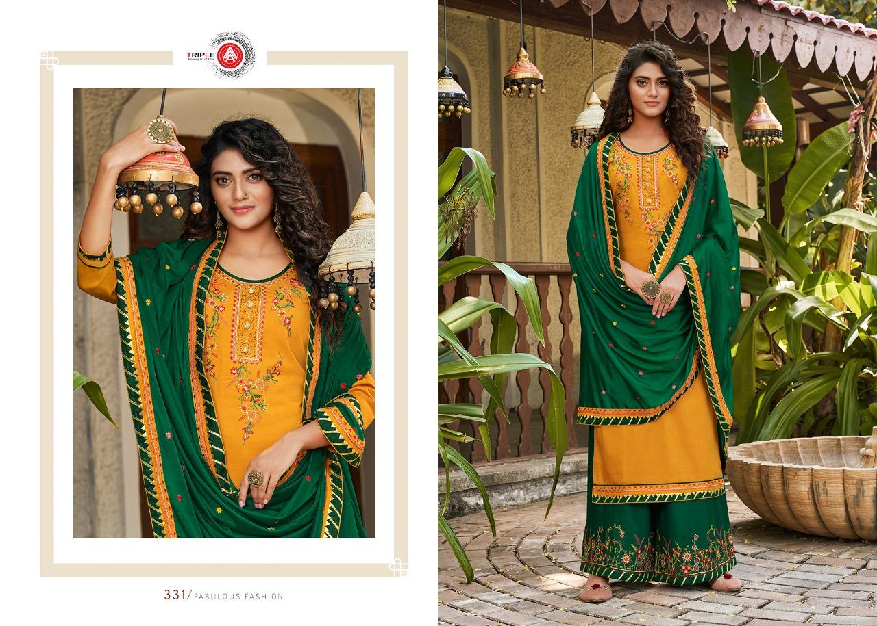 Triple Kalash Vol 2 Designer Jam Silk With Embroidery Work Salwar Suit Catalog at Wholesale rate
