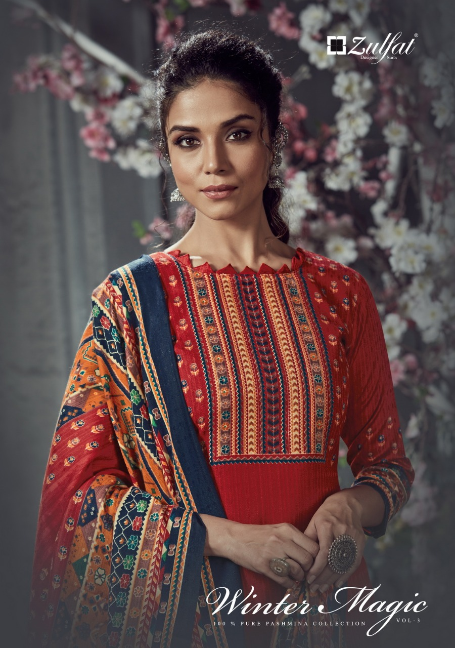 Zulfat Designer Suits Winter Magic Vol 3 Pure Pashmina Digital Style Print Salwar Suit Catalog at Wholesale rate