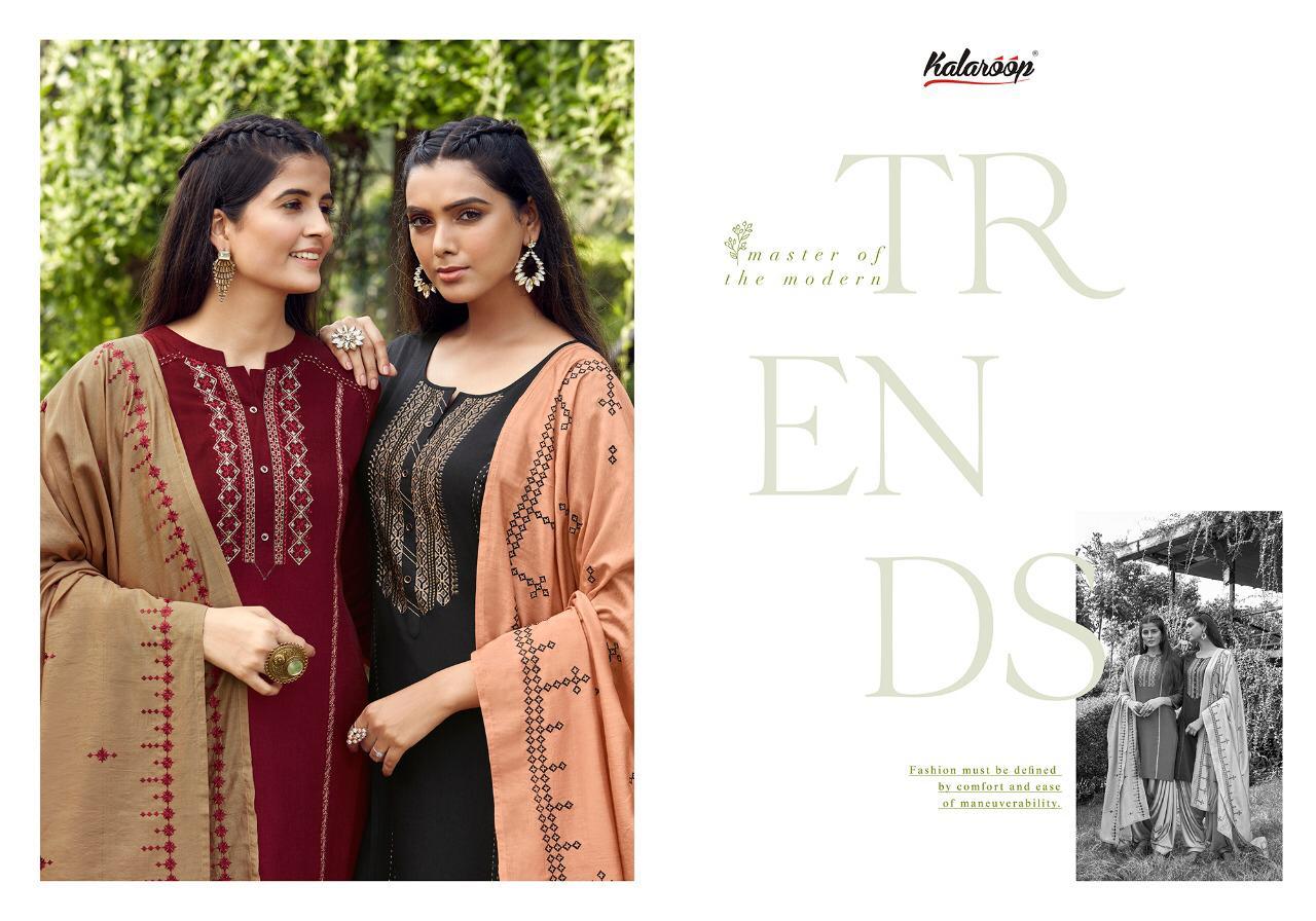 Kalaroop  Arties by Patiyala Vol - 5 Flex Rayon With Embroidery Work Patiala Suit Catalog at Wholesale rate