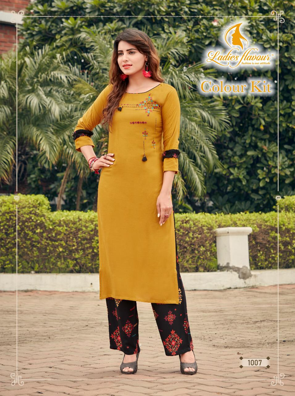 Ladies Flavour  Colour Kit Designer Rayon 14 KG With Embroidered Festive Wear Kurti Catalog at Wholesale rate