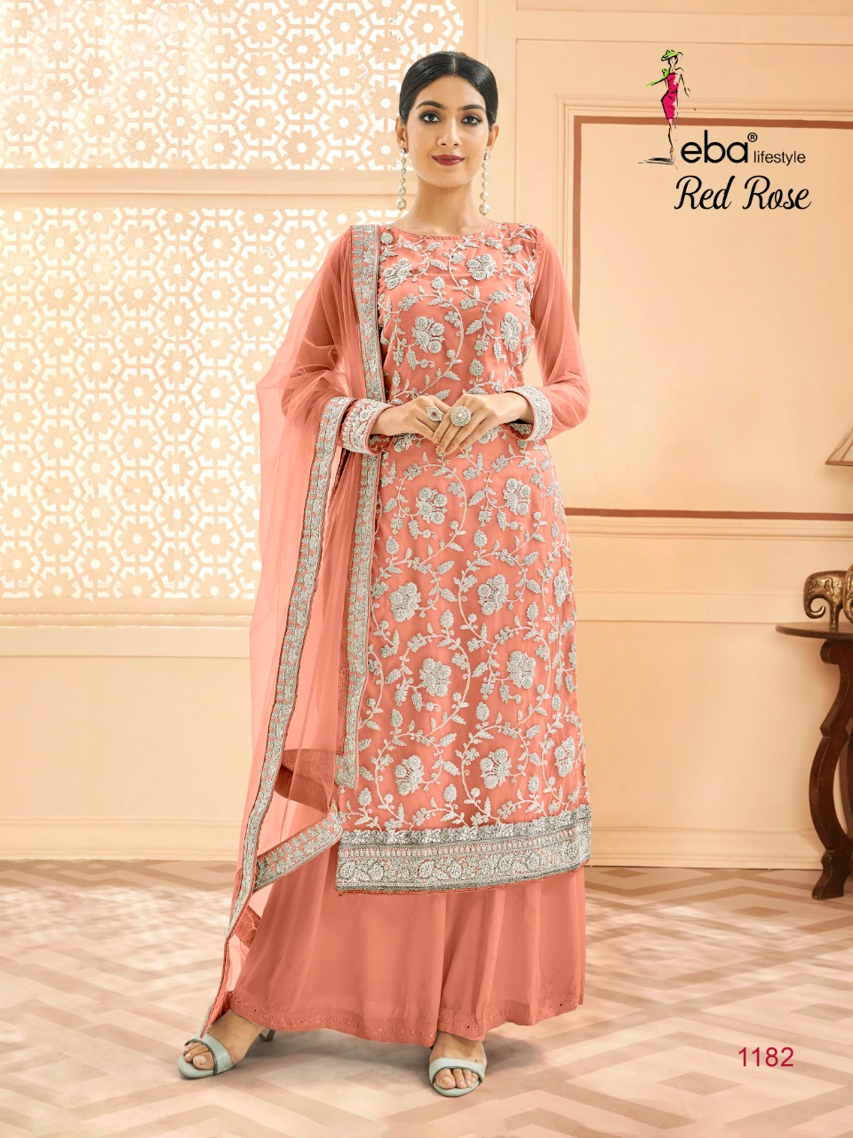 Eba Lifestyle Red Rose Designer Heavy Butterfly Net Wedding Salwar Suit Catalog at Wholesale rate