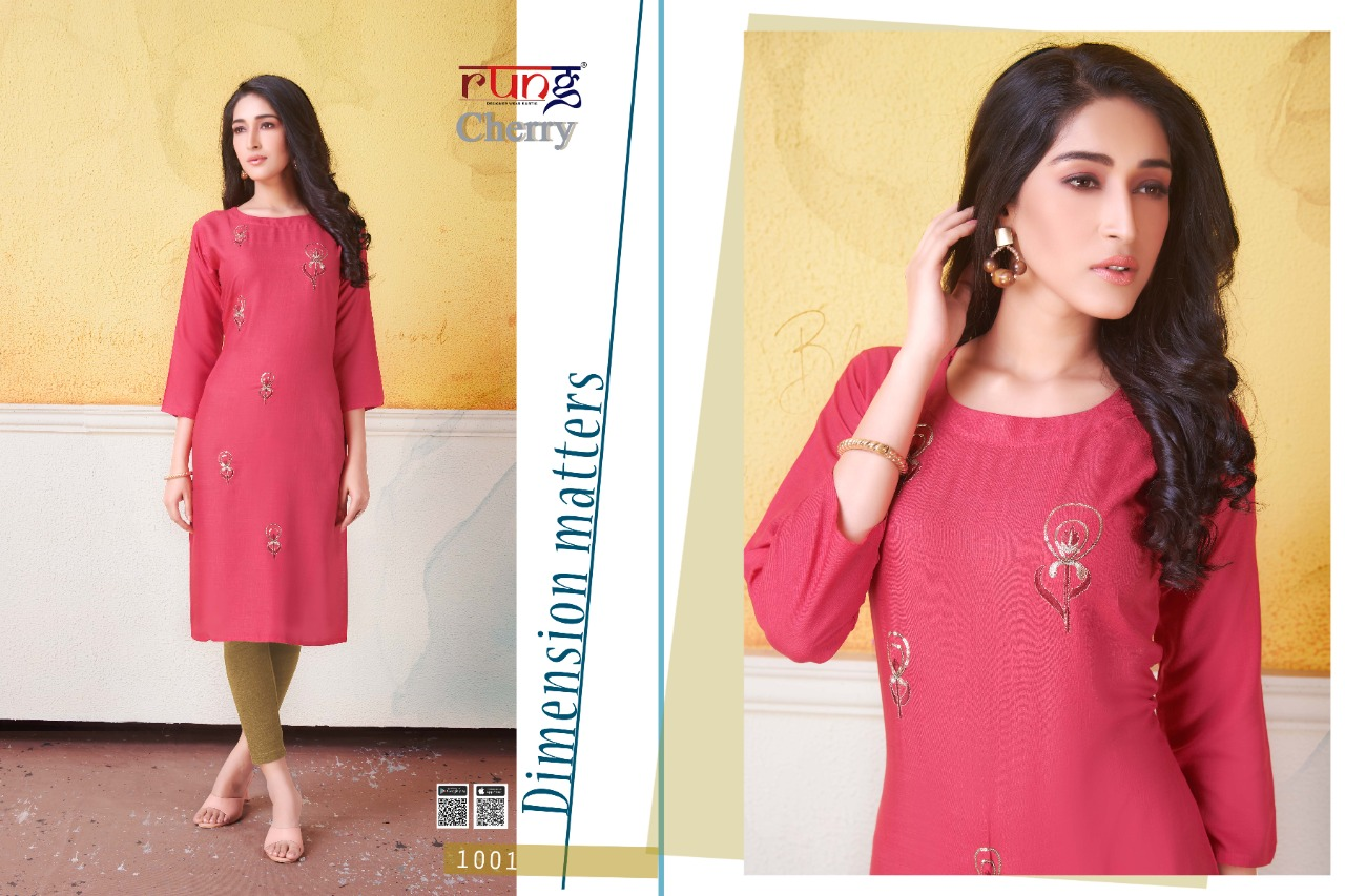 Rung Cherry Stylish Rayon Embroidered Casual Wear Kurti Catalog at Wholesale rate