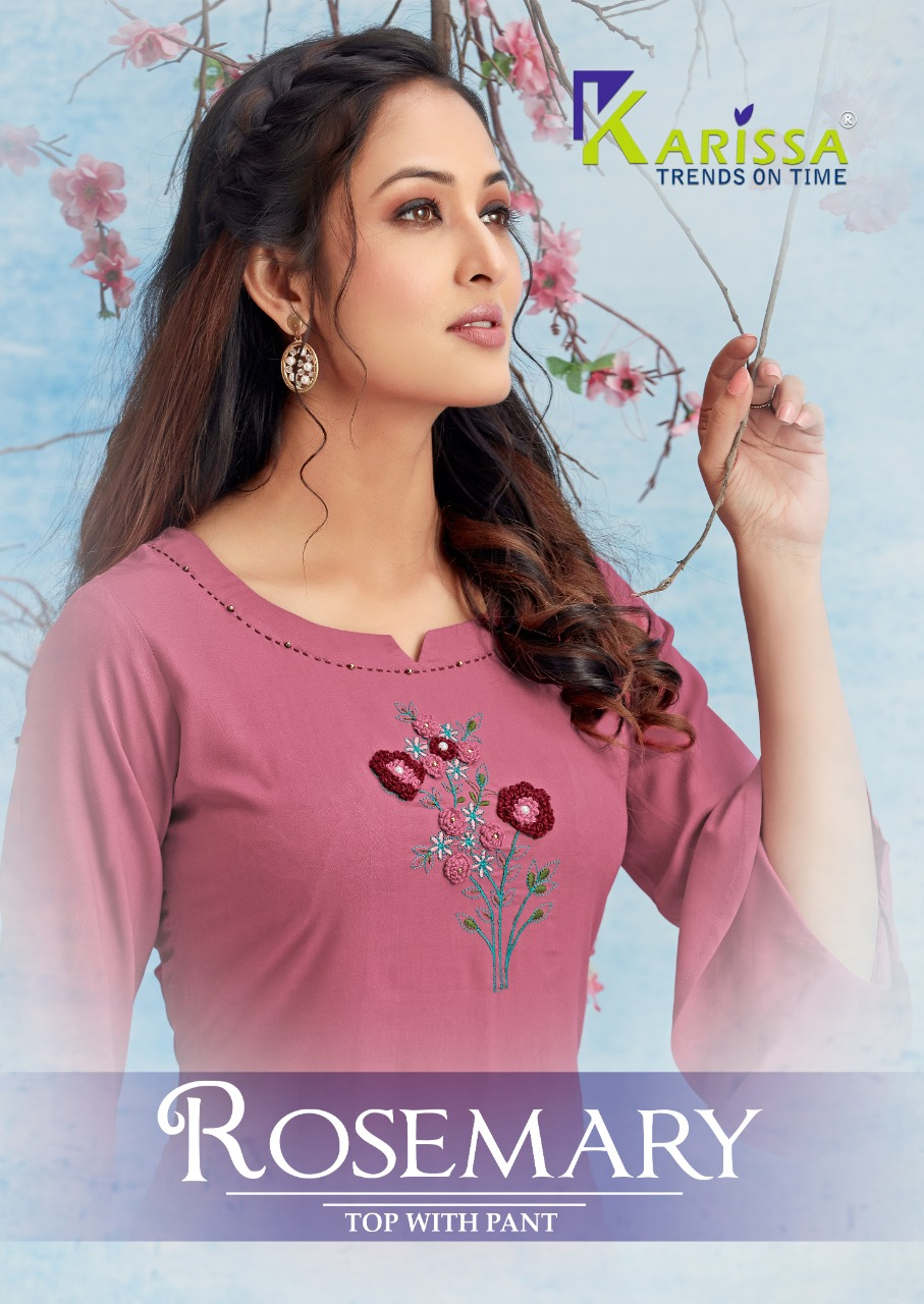 Karissa Rosemary Stylish Heavy Rayon Manual Work Kurti Catalog at Wholesale rate