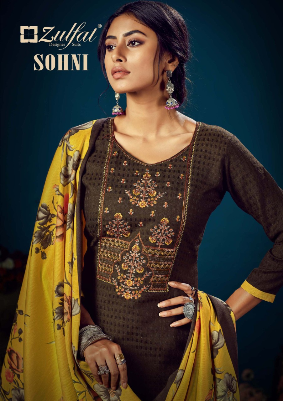 Zulfat Designer Suits Sohini Pure Pashmina Printed Festive Wear Suit  Catalog at Wholesale rate