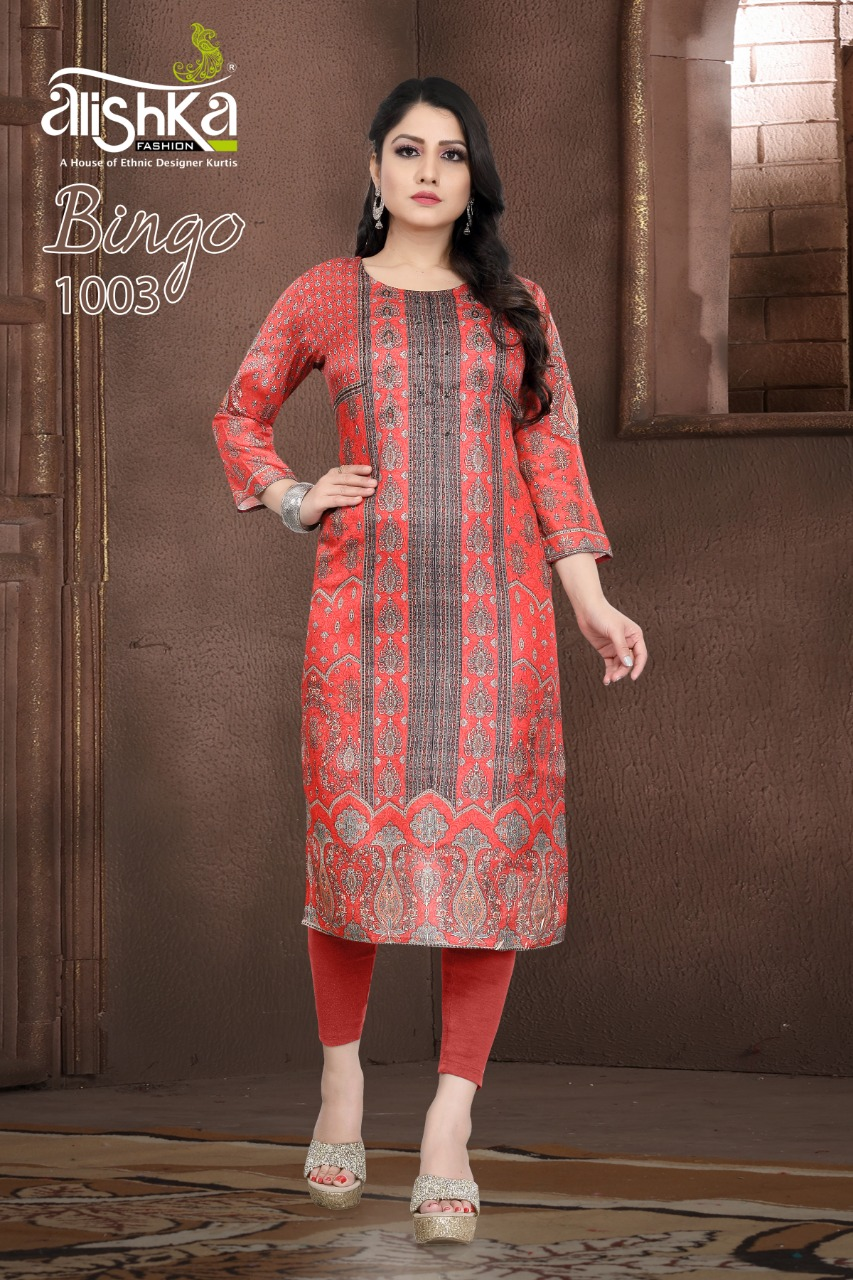 Alishka Fashion Bingo Designer Tussar Silk Digital Print Kurti Catalog at Wholesale rate